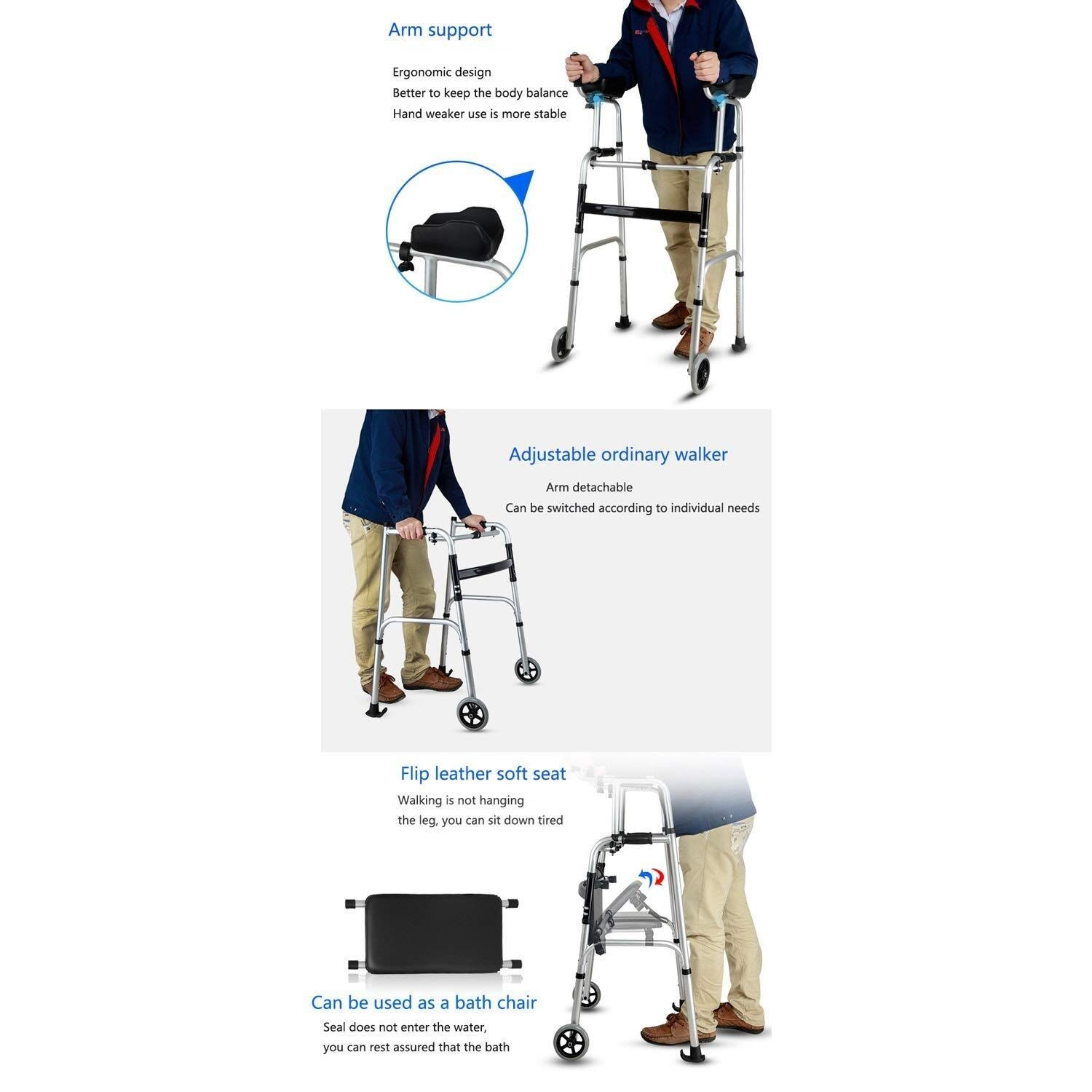 Walking Frame with Wheels Narrow, Portable Bag Lockable Brake Adjustable Height Auxiliary Walking Safety Walker (Color : with Brakes) by YL WALKER (Image #4)