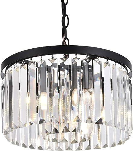 Cuaulans Modern Crystal Chandelier,Semi Flush Mount Ceiling Light Fixture Pendant Lamp for Dining Room Bathroom Bedroom Livingroom,Black Finish