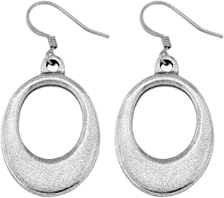 product image for DANFORTH - Ellipse Earrings - 1 1/4 Inch - Pewter - Surgical Steel Wires - Handcrafted - USA