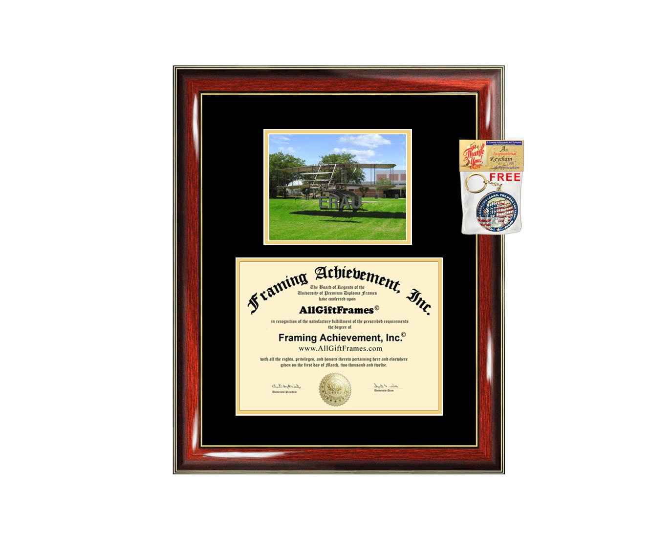Embry-Riddle Aeronautical University Diploma Frame ERAU Graduation Degree Frame - Matted Campus College Photo Graduation Certificate Plaque University Framing Graduate Gift Collegiate Case Holder by Framing Achievement Inc University Diploma Frame (Image #1)