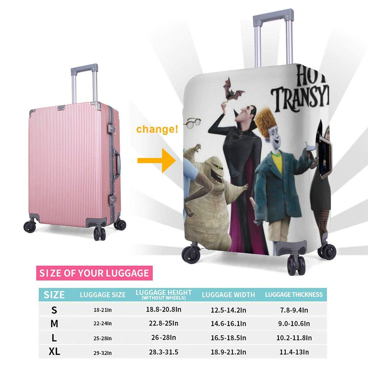 Hotel Transylvania Suitcase Protector Travel Luggage Cover Fit