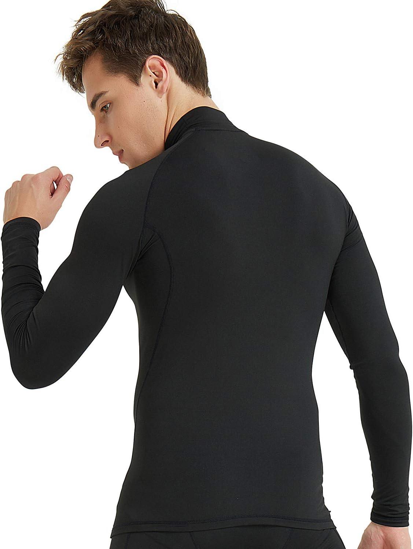 COOLOMG Herren Kompressionsshirt Langarm Funktionsw/äsche Base Layer Thermow/äsche Unterhemd Winter Fitness Laufen Radsport MEHRWEG