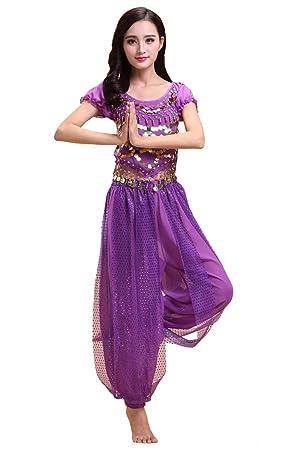 Grouptap Talla Extra Conjunto de Traje de Vestir de 2 Piezas con Traje de Danza de Vientre bharatanatyam de Bollywood para niñas de Mujeres ...