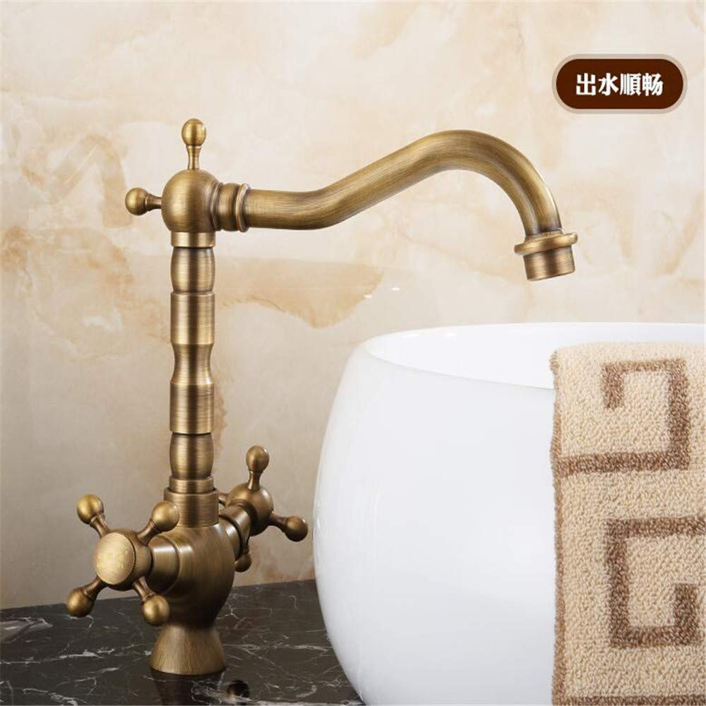Faucetbasin Mixer Tap Wash Basin Single Single Hole Retro Stage Basin Basin Basin Faucet European Style Copper Antique Faucet Hot and Cold