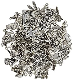eCrafty EC-5655 100-Piece Silver Pewter Charms Pendants Mega Mix DIY for Jewelry Making and Crafting