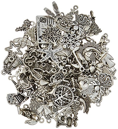 eCrafty EC-5655 100-Piece Silver Pewter Charms Pendants Mega Mix DIY for Jewelry Making and (Charms)