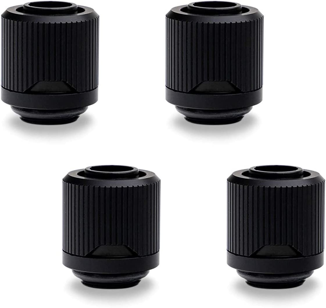 "EKWB EK-Quantum Torque STC-10/13 Compression Fitting for Soft Tubing, 10/13mm (3/8"" ID, 1/2"" OD), Black, 4-Pack"