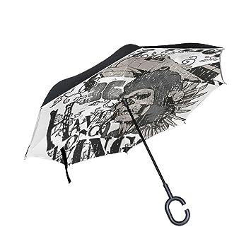MALPLENA Brave Pilots Paraguas de Apertura automática en la Parte Superior de Abajo inverso con Paraguas