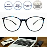 Non Prescription Glasses Blue Blocking Round Light Weight Comfortable Fit Anti Eye Stain Gaming Glasses for Women Men