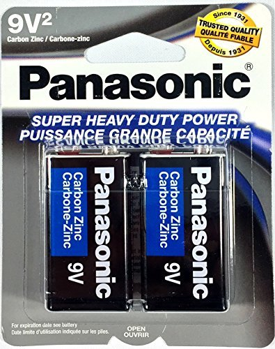 2Pc Size 9V Panasonic Batteries Super Heavy Duty Power Zinc Carbon