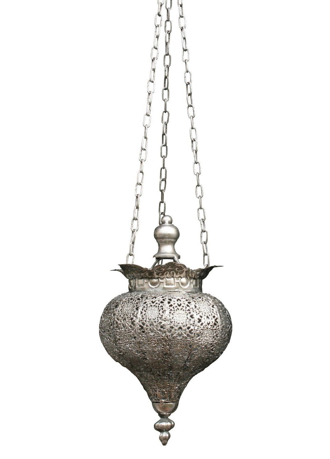 PierSurplus Antique Silver Oriental Metal Hanging Pendant Light Candle Lantern - Small Product SKU: CL221834