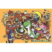 Super Mario World Super Nintendo NES GameSeries Characters Yoshi Luigi Princess Peach Poster - 18x12