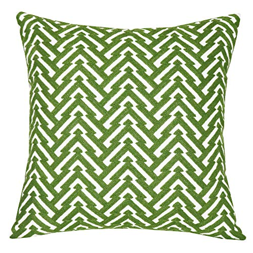 SLOW COW Cotton Embroidery Decorative Throw Pillow Cover Cushion Cover for Couch Sofa Bedroom Geometric Pattern Pillowcase Accent Pillow Cover 18 x 18 Inches Green
