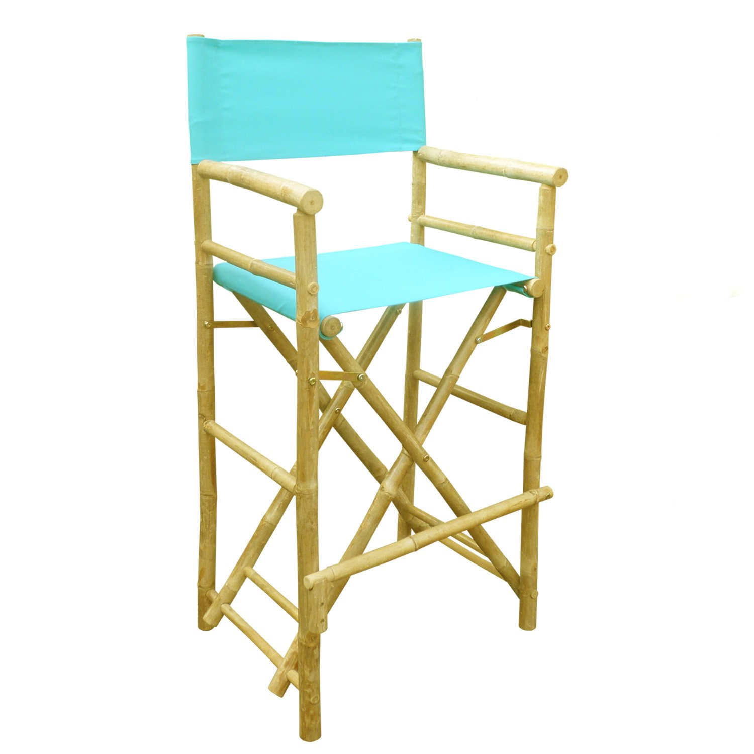 Zew Hand Crafted Tall Foldable Bamboo Director's Chair with Treated Comfortable Canvas, Set of 2 Bamboo Folding Chairs, Aqua by Zero Emission World
