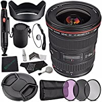 Canon EF 17-40mm f/4L USM Lens + 77mm 3 Piece Filter Set (UV, CPL, FL) + LENS CAP 77MM + 77mm Lens Hood + SLR Lens Pouch + Lens Pen Cleaner + Microfiber Cleaning Cloth + Lens Cap Keeper Bundle