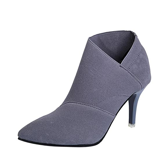 f682744ba892d2 Stiefel Damen Kolylong® Frauen Elegant Stiefeletten mit Absatz Herbst  Winter Warm Stiefel Kurz Vintage Stiefel