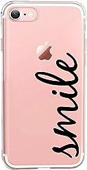 Girlscases® | iPhone 8/7 Hülle | Mit coolen Spruch Aufdruck Motiv | Smile | Case transparente Schutzhülle | Farbe: schwarz |