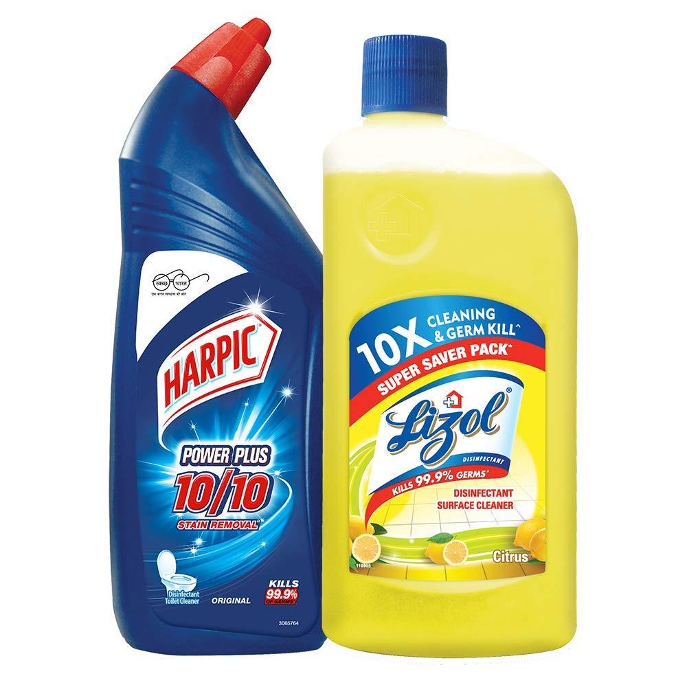 Harpic Toilet Original Cleaner, 1 L with Lizol Floor Cleaner, 975ml (Citrus) product image