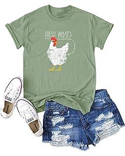 1e47438e23f5 Haircloud Women What Chicken Butt Shirt Funny Joking Chicken T-Shirt (Run 3  Size