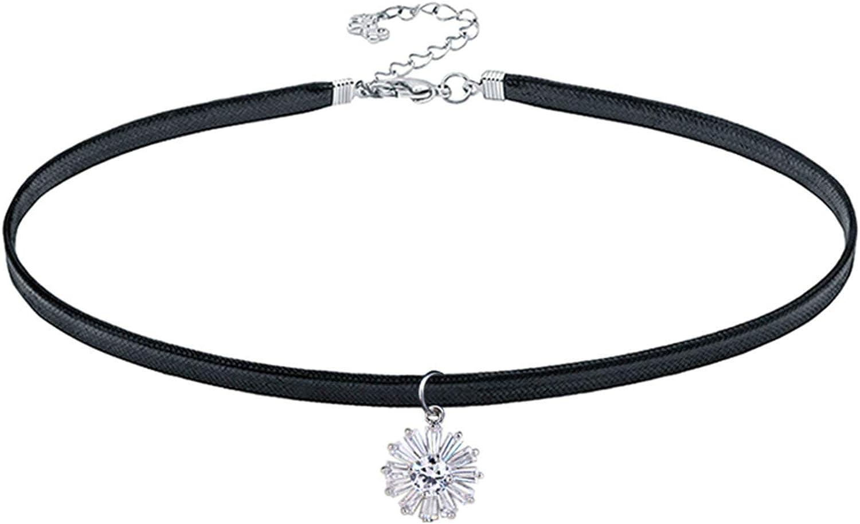 Aooaz Leather Necklaces Vintage Flower Crystal Hip Hop Necklace Black Length 38Cm