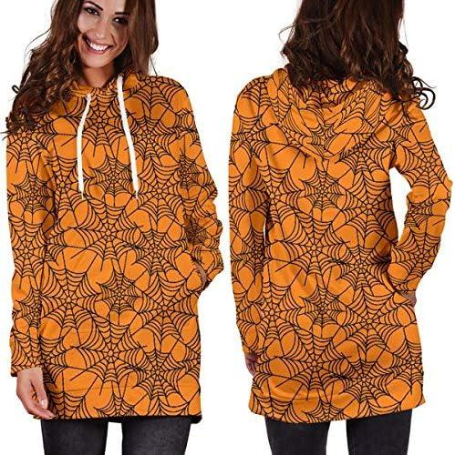 Studio11Couture Women Hoodie Dress Hooded Tunic Orange Spider Web Halloween Athleisure Sweatshirt