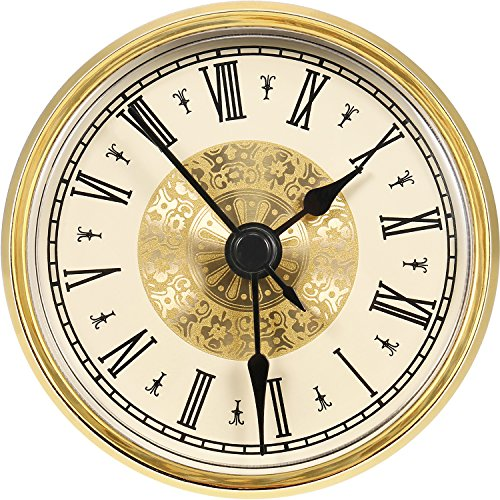 (Hicarer 2.8 Inch/ 70 mm Roman Numeral Clock Insert with Gold Trim, Quartz Movement)