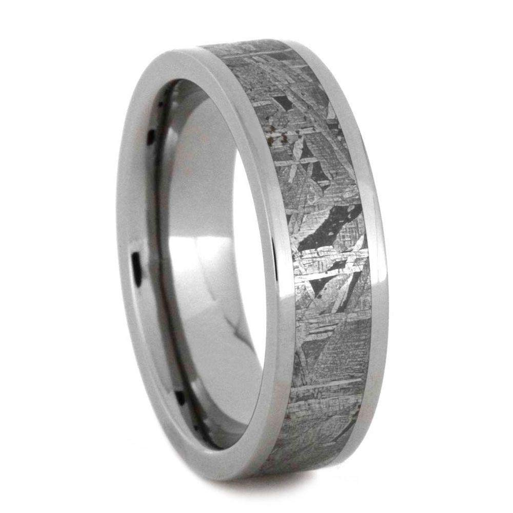 Jewelry By Johan Authentic Meteorite Ring, 6mm Titanium Wedding Band with Gibeon Meteorite Inlay