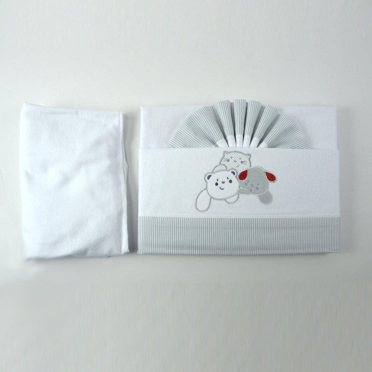 Pekitas Parure de lit en flanelle 3/pi/èces pour berceau de 60/x 120/cm 100//% coton Fabriqu/ée au Portugal Bleu//blanc