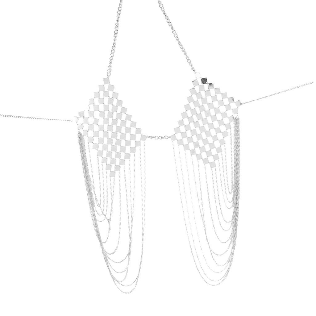 MagiDeal Sexy Bra Bikini Women Halter Sequin Tassel Summer Beach Chest Chain - Silver