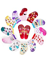 Yimaler 12 Pairs Cotton Socks Anti-slip Ankle Socks for 16-36 Months Toddler Babies