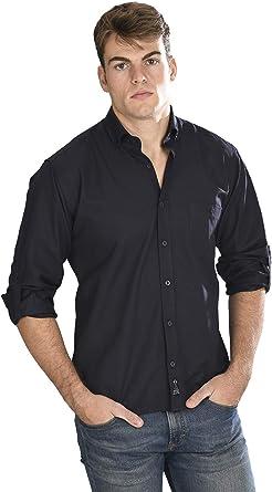 Camisa Oxford Manga Larga de Hombre en Negro: Amazon.es: Ropa y accesorios