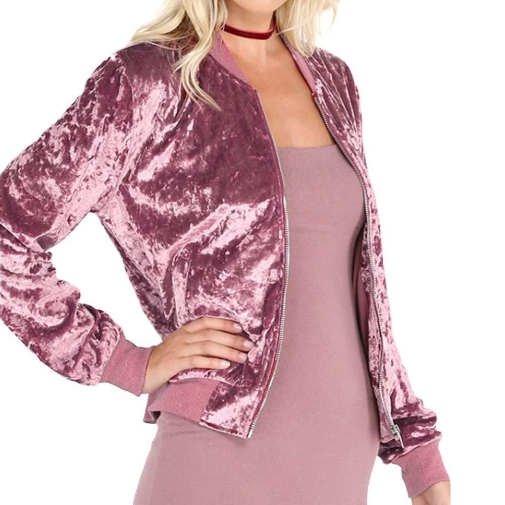 Womens Fashion Shining Velvet Bomber Jacket Slim Long Sleeve Zipper Coat Outwear (Pink, L)