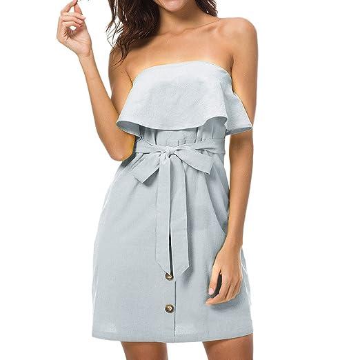 4410a2dd5cba general3 Women Elegant A Line Dress Sleeveless Button Off Shoulder Bardot  Dress Summer Ruffle Belted Frill