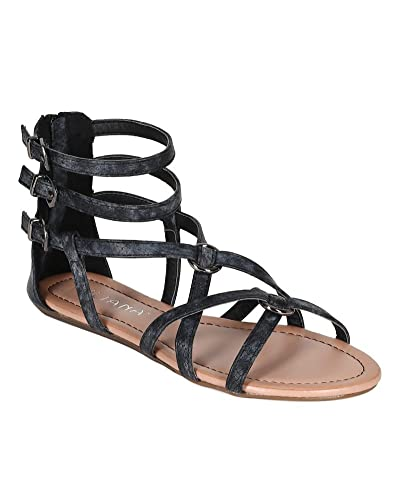 c5f115ac160 Liliana Women Snake Leatherette Strappy Ankle Strap Buckle Gladiator Flat  Sandal CJ38 - Black (Size