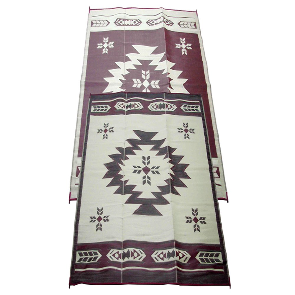 Amazon.com: Fireside Patio Mats Navajo Breeze Burgundy And Beige 9 Ft. X 18  Ft. Polypropylene Indoor/Outdoor Reversible Patio/RV Mat: Automotive