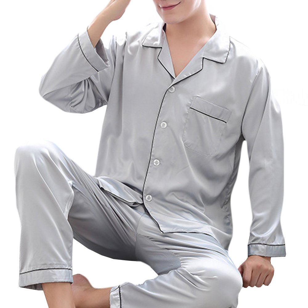 36a968269d7b Enjoy the silk-like feel of satin fabric in this classic satin pajama set  for men. Satin is made from 100% polyester thread and woven into a tight  weave ...