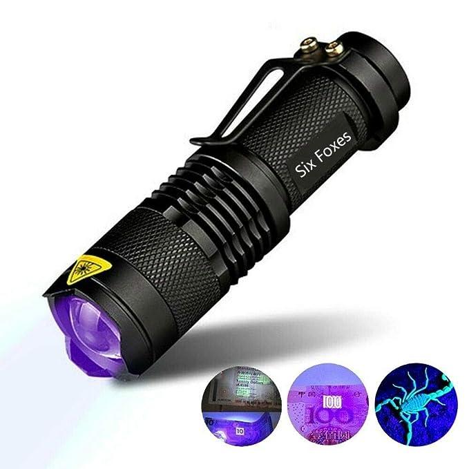 395 nm gatos y otros animales dom/ésticos Six Foxes con detector de billetes falsos orina de perros Linterna UV de luz negra