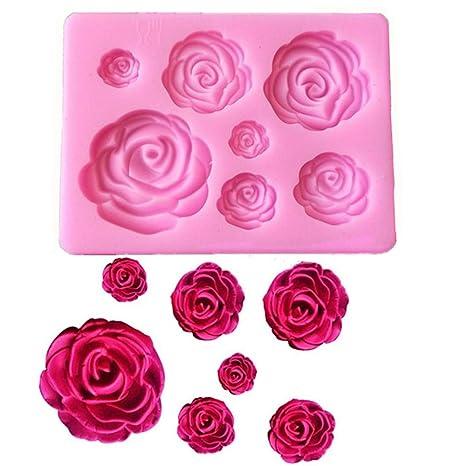 Amazon.com: Molde de silicona para tartas, diseño de rosas ...