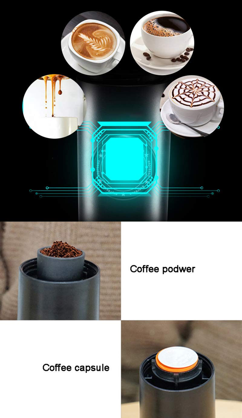 OMZBM Mini 2-in-1 Handheld All in One Espresso Coffee Maker with Hot Extraction Powder&Capsule,Wireless Portable Chargeable Electric Coffee Mechine for Outdoor Travel,Black by OMZBM (Image #4)