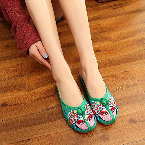 Trendy Opera Chinese Summer Green Sandal Mask Embroideried Soft Shoes Slippers wIgndTxqgp
