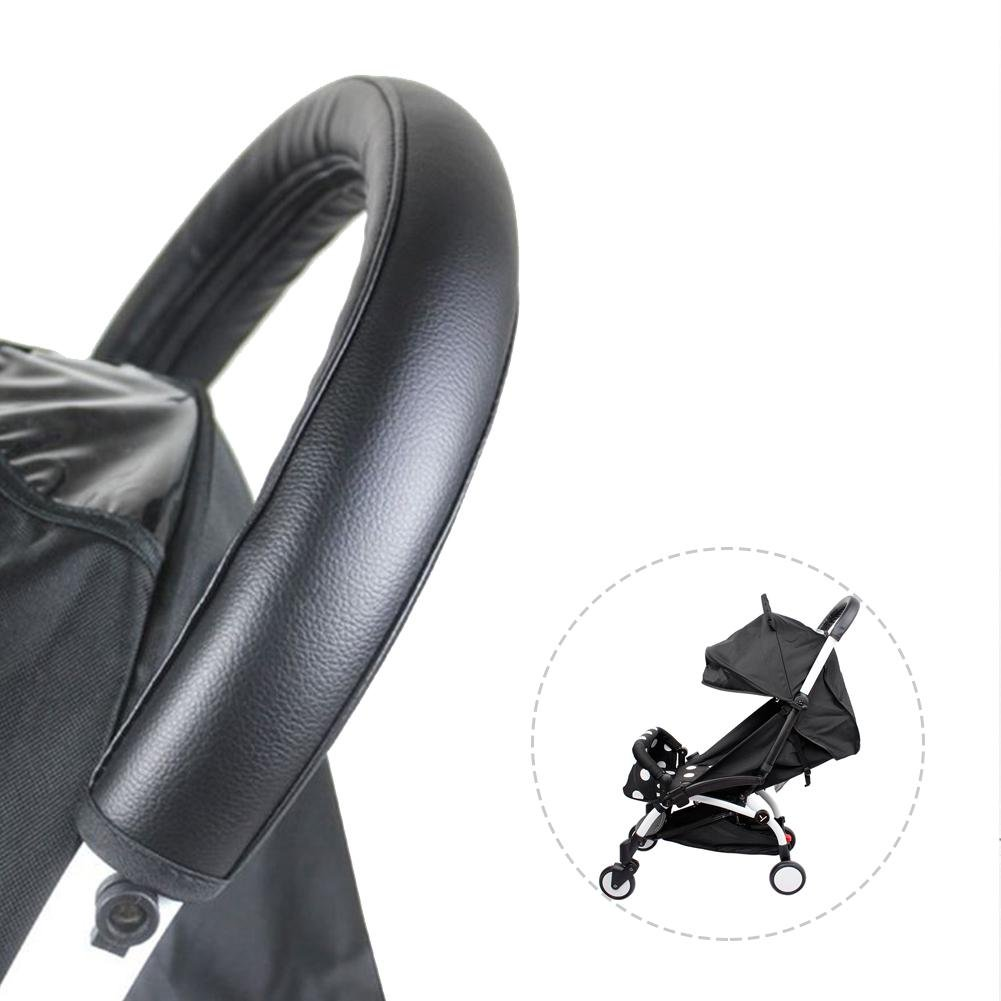 Waroomss Baby Stroller Handrail Case Cover Stroller Accessories Pu Leather Handle Removable Zipper