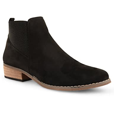 24698afc59f Womens Dolcis Chelsea Ankle Boots Ladies Flat Low Block Heel Pull On Shoes  Size