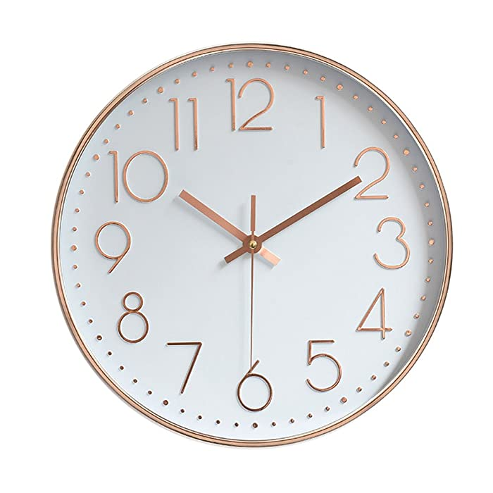"""jomparis Modern 12"""" Battery Operated Silent & Non-Ticking Wall Clock Quality Quartz Sweep Home Living Room Bedroom School Clocks,Plastic Frame Glass Cover (Rose Gold,Arabic Numeral)"""