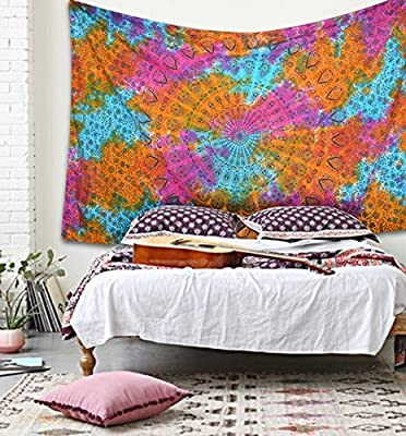 Popular Twin Rainbow peacock phether mandala Hippie Indian Tapestry Elephant Mandala Throw Wall Hanging Gypsy tapestries Bedspread Tye dye tapestry By Popular Handicrafts