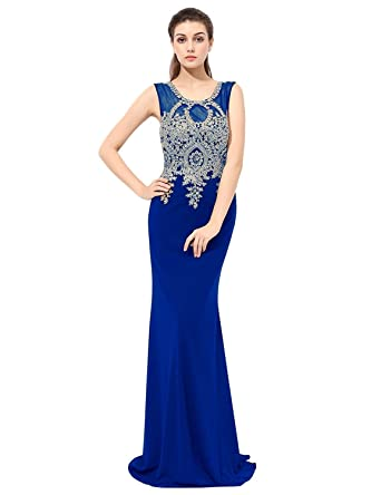 Sarahbridal Womens Mermiad Prom Dresses Gold Lace Applique Evening Gowns XU028 - - 20