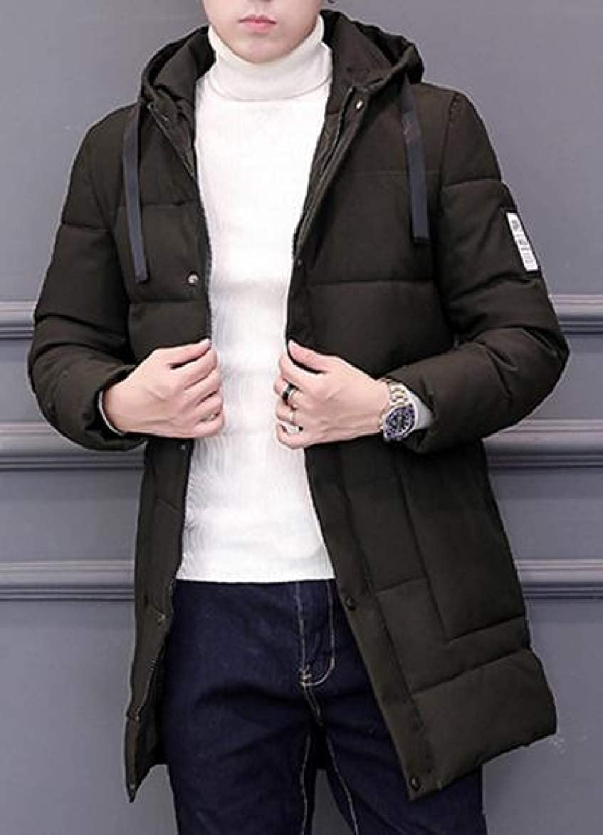 Abetteric Mens Brumal Thick Warm Hood Mid-Long Outwear Down Parka