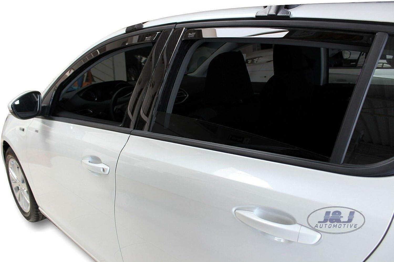 J/&J AUTOMOTIVE J/&J Deflectores de Viento para Peugeot 308 II 5 Puertas 2013-4 Unidades