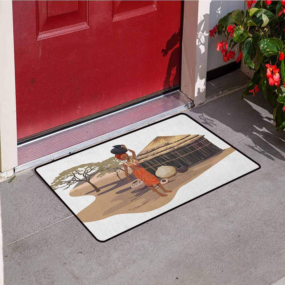 RelaxBear African Woman Front Door mat Carpet Native Woman Carrying a Pot Hut Tree Natural Landscape Village Illustration Machine Washable Door mat W23.6 x L35.4 Inch Multicolor by RelaxBear