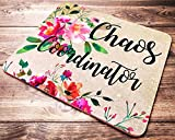Funny Quote Chaos Coordinator Mouse Pad Pink Red Floral Watercolor Teacher Mousepad Office Desk Accessories Decor