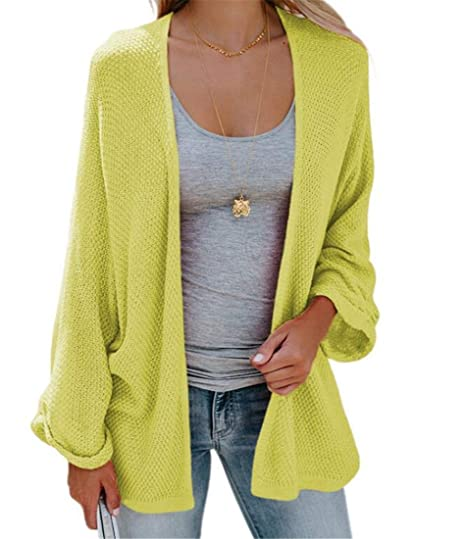fe50bab3d3a SELX Women Oversized Cardigan Kint Open Front Duster Cardigans Three US S